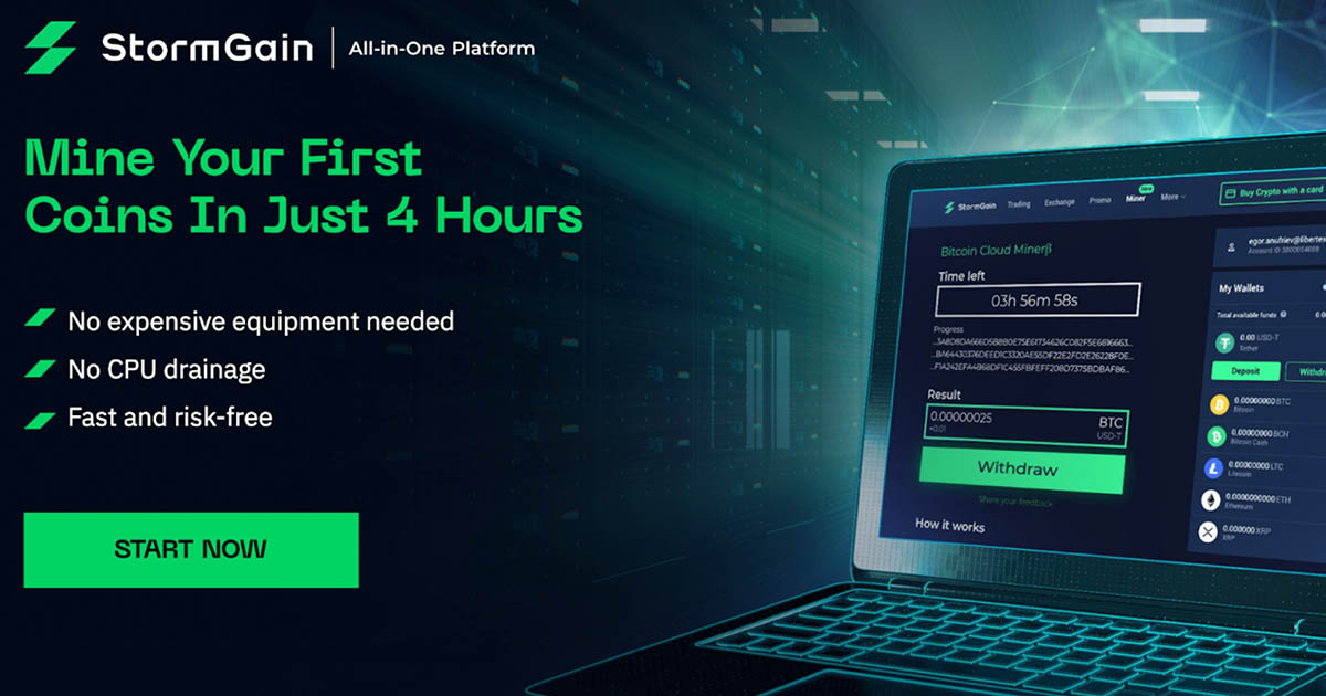 StormGain Launches Free Bitcoin Cloud Mining Service!