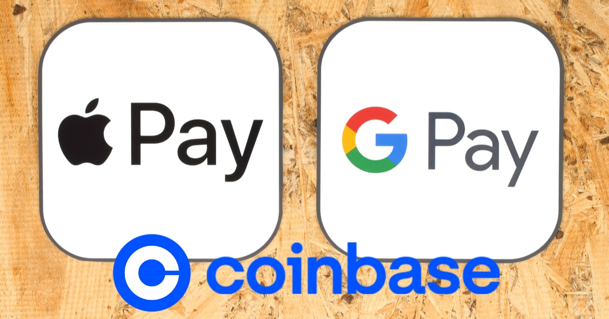 apple pay google pay and coinbase logo
